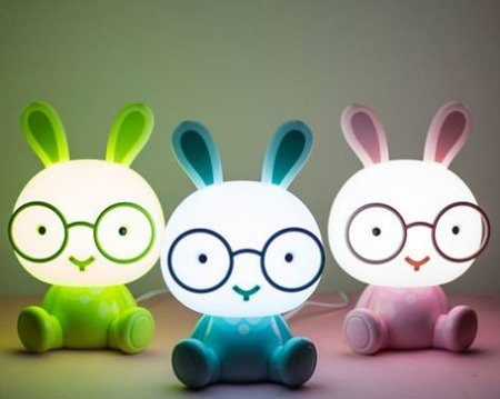 Lampka nocna królik okularnik LED - zielona